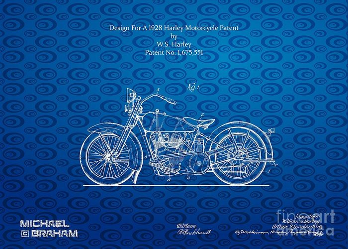 Harley Greeting Card featuring the photograph Design For A 1928 Harley Motorcycle Patent by Doc Braham