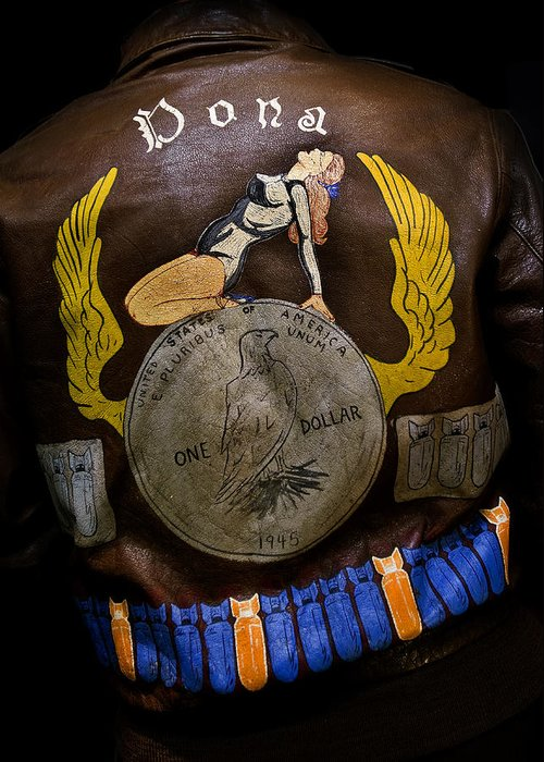Ww-2 Artifacts Greeting Card featuring the photograph Dona Bomber Jacket by Gary Warnimont