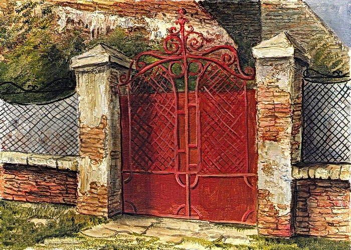Belgrade Greeting Card featuring the painting Door by Vladimir Curcin