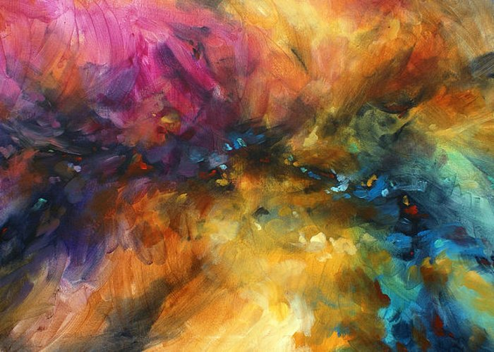 Abstract Greeting Card featuring the painting ' Dreamscape' by Michael Lang