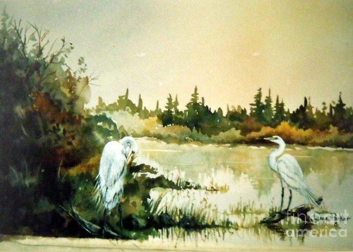 Egret Pair At Lake Greeting Card featuring the painting  Egrets at Dead Lake by Lynne Parker