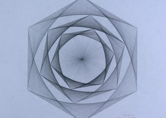 Jason Padgett Greeting Card featuring the drawing  Energy Spiral by Jason Padgett