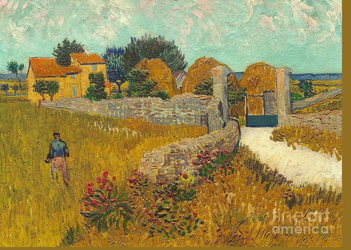 Farmer; Agriculture; Field; Farm; France; South Of France Greeting Card featuring the painting Farmhouse In Provence by Vincent van Gogh