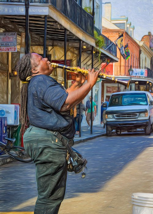 Nola Greeting Card featuring the photograph Feel It - Doreen's Jazz New Orleans 2 by Steve Harrington