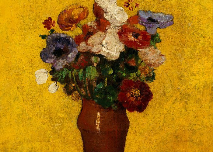 Still Life; Flower; Vase Greeting Card featuring the painting Flowers by Odilon Redon