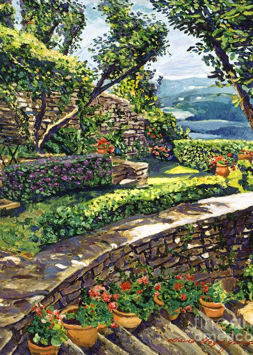 Impressionist Greeting Card featuring the painting Garden Stairway by David Lloyd Glover