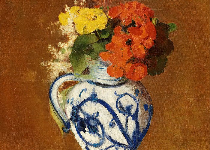 Still Life; Flower Greeting Card featuring the painting Geraniums And Other Flowers In A Stoneware Vase by Odilon Redon