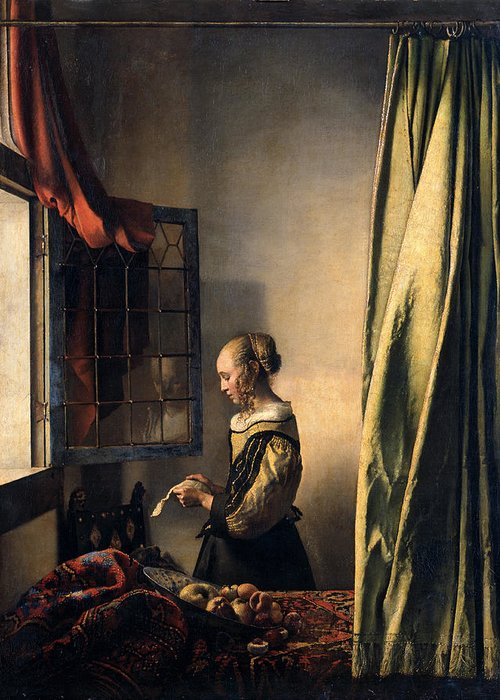 Jan Vermeer Greeting Card featuring the painting Girl Reading A Letter By An Open Window by Johannes Vermeer