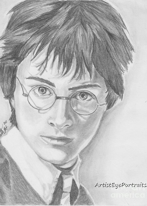 Harry Drawings. Harry Potter Greeting Card featuring the drawing Harry Potter by Nathaniel Bostrom