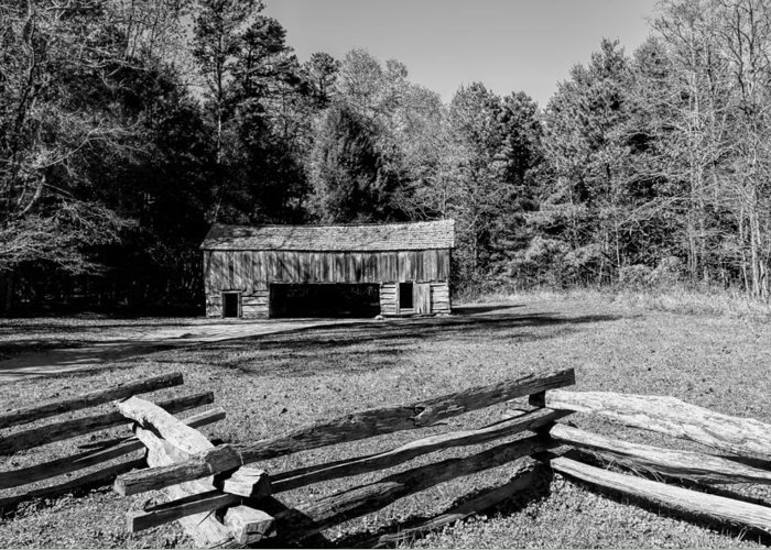 Historical Greeting Card featuring the photograph Historical Cantilever Barn At Cades Cove Tennessee In Black And White by Kathy Clark