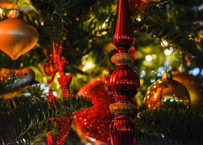 Christmas Tree Greeting Card featuring the photograph Holiday Decorations by Lee Roth