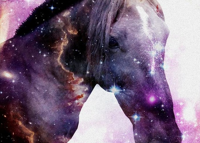 Stallion Greeting Card featuring the digital art Horse In The Small Magellanic Cloud by Anastasiya Malakhova