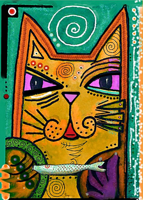Moon Stumpp Greeting Card featuring the painting House Of Cats Series - Fish by Moon Stumpp