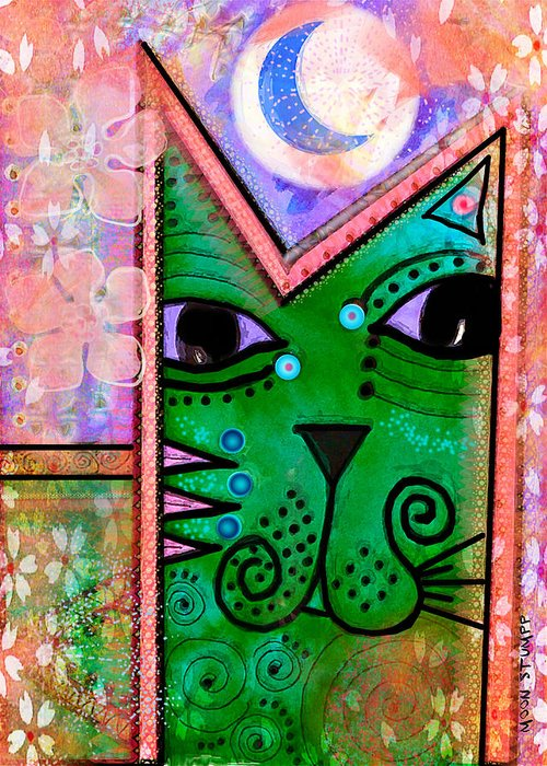 Moon Stumpp Greeting Card featuring the painting House Of Cats Series - Moon Cat by Moon Stumpp