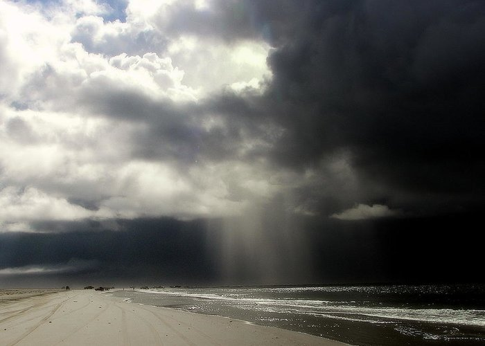 Stormy Skies Greeting Card featuring the photograph Hurricane Glimpse by Karen Wiles