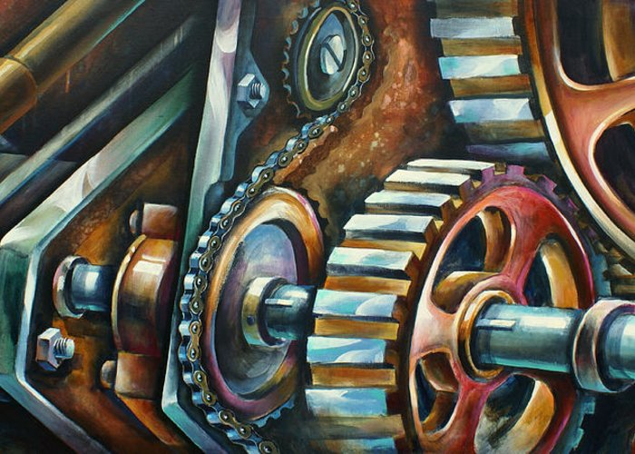 Mechanical Greeting Card featuring the painting ' In Harmony ' by Michael Lang