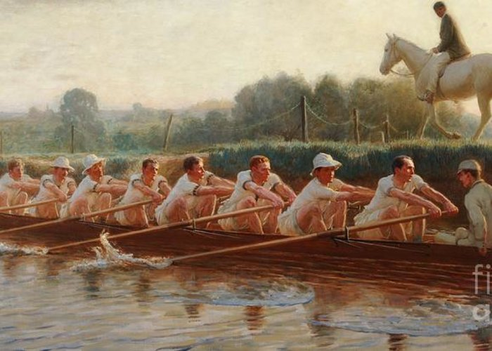 Male; Sportsmen; Sport; Practicing; Cox; Coxswain; Horse; Horseback; Runners; Running; Physical Exercise; River; Riverbank; Outdoors; Team; Rowers; Rowing; Boat; Eights; Athletes; Training; Crew; Crewing; Alongside Greeting Card featuring the painting In The Golden Days by Hugh Goldwin Riviere