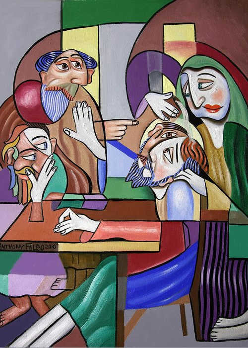 Jesus Anointed At Bethany Greeting Card featuring the painting Jesus Anointed At Bethany by Anthony Falbo