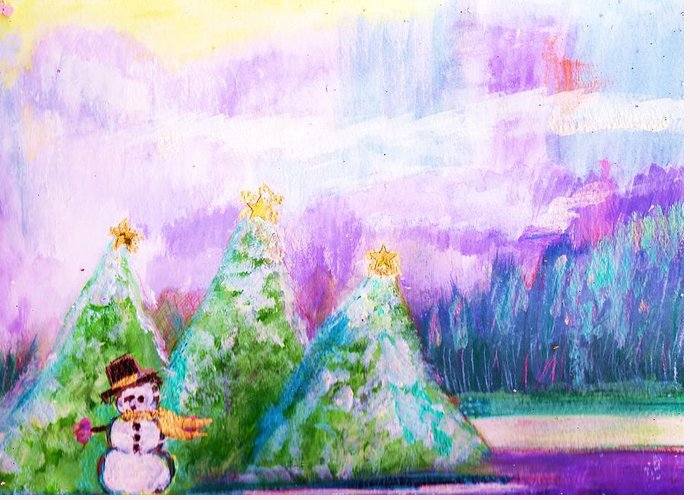 Snowman Greeting Card featuring the painting Little Snowman And Trees by Anne-Elizabeth Whiteway