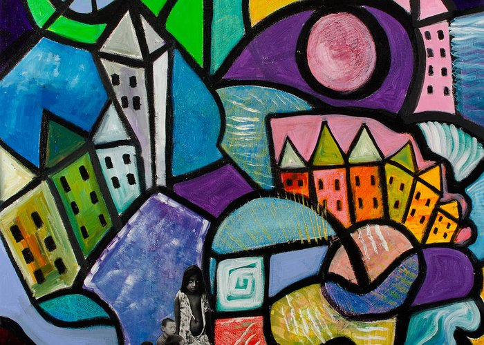 Lost In The City Greeting Card featuring the mixed media Lost by Gwendolyn Aqui-Brooks
