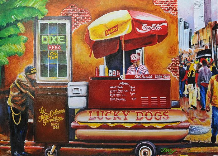 Lucky Dog Greeting Card featuring the painting Lucky Dog Man In The Quarter by Terry J Marks Sr