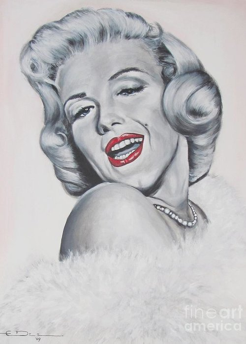 Marilyn Monroe Greeting Card featuring the painting Marilyn Monroe by Eric Dee