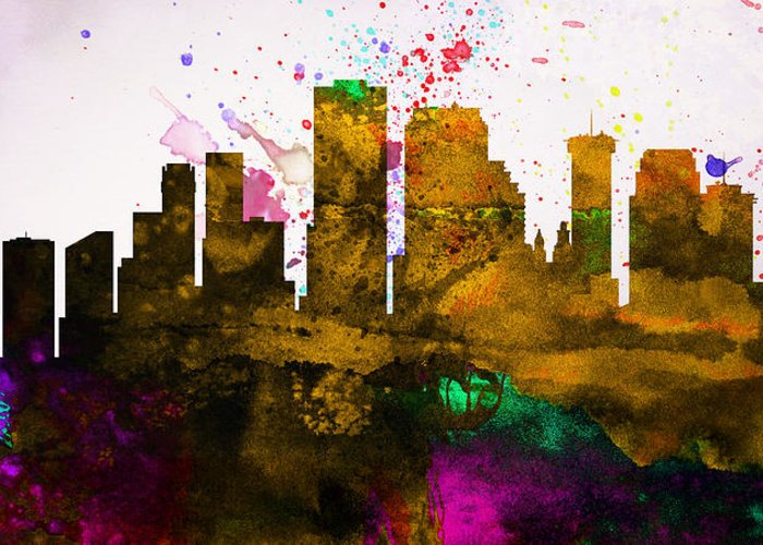 Greeting Card featuring the painting New Orleans City Skyline by Naxart Studio