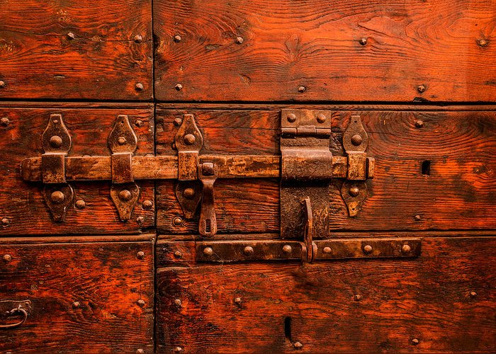 Old Door And Lock Rome Italy Greeting Card featuring the photograph Old Door And Lock Rome Italy by Xavier Cardell