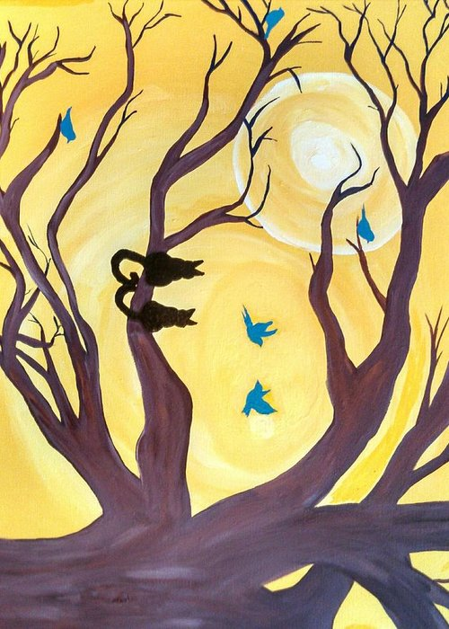 Cats Birds Trees Sunset Greeting Card featuring the painting On A Limb by Tammy Cote