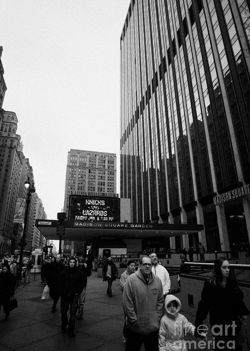 Usa Greeting Card featuring the photograph Outside Madison Square Garden New York City Winter Usa by Joe Fox