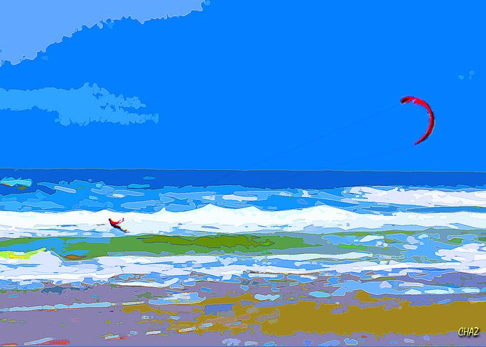 Surfing Greeting Card featuring the painting Para-surfer 2p by CHAZ Daugherty