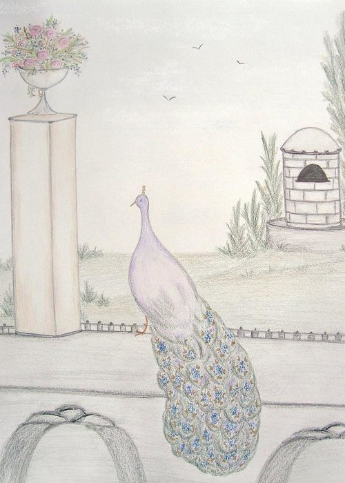 Peacock Greeting Card featuring the drawing Peacock In An Italian Landscape by Christine Corretti
