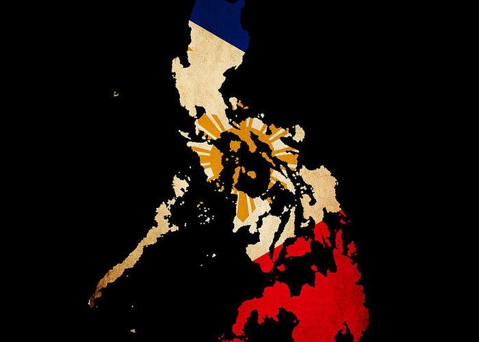 Flag Greeting Card featuring the photograph Philippines Outline Map With Grunge Flag by Matthew Gibson