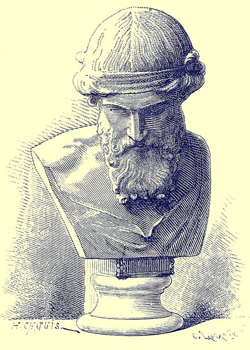 Ancient; Rome; Romans; Roman; Plato; Greek; Philosopher; Philosophy Greeting Card featuring the sculpture Plato by Chapuis