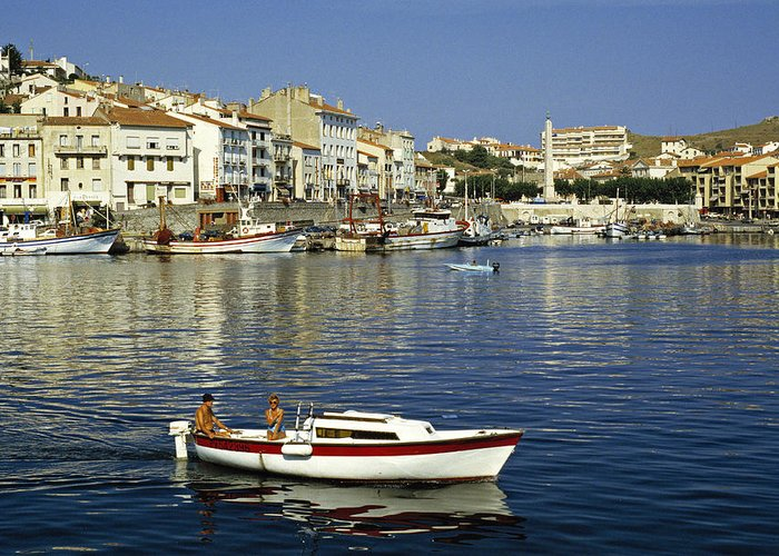Leisure Greeting Card featuring the photograph Port Vendres Harbour France 1980s by David Davies