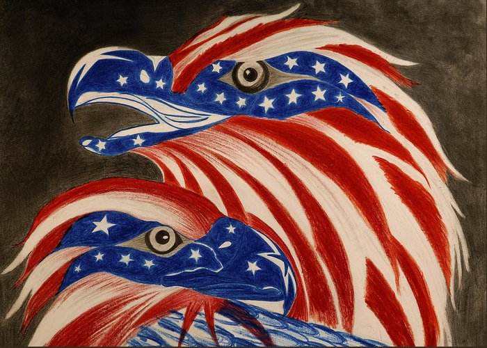 American Greeting Card featuring the drawing Proud Of Eagle by Jalal Gilani