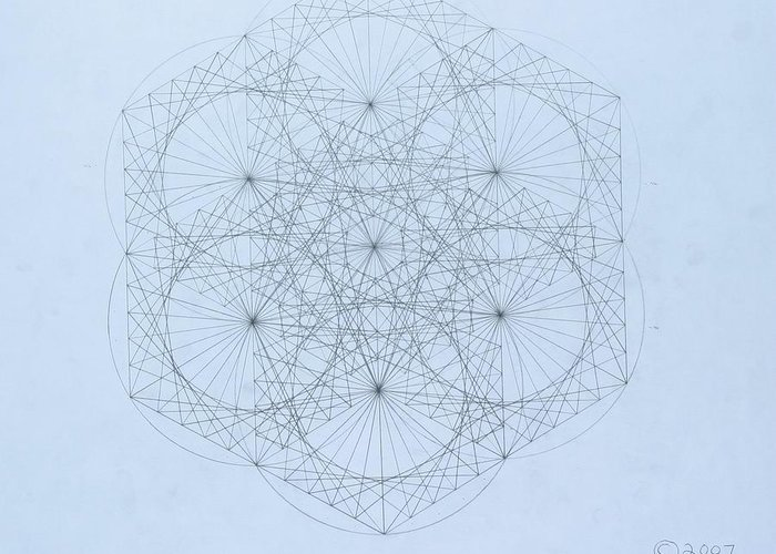 Jason Padgett Greeting Card featuring the drawing Quantum Snowflake by Jason Padgett