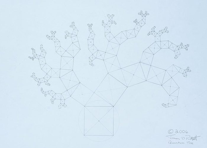 Fractal Tree Greeting Card featuring the drawing Quantum Tree by Jason Padgett