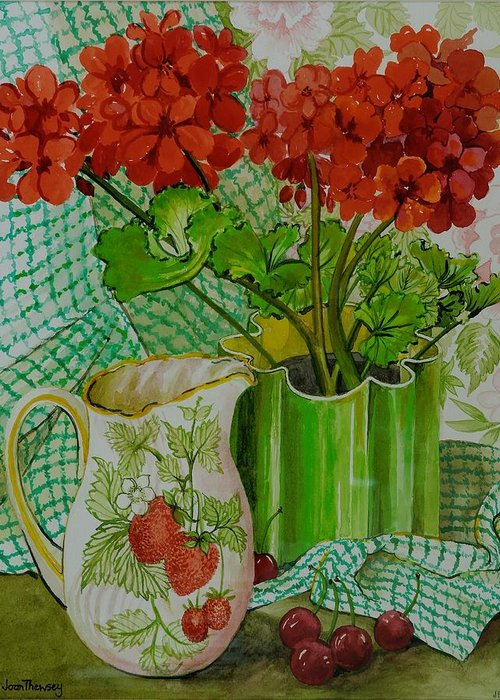 Red Geranium Petals Greeting Cards
