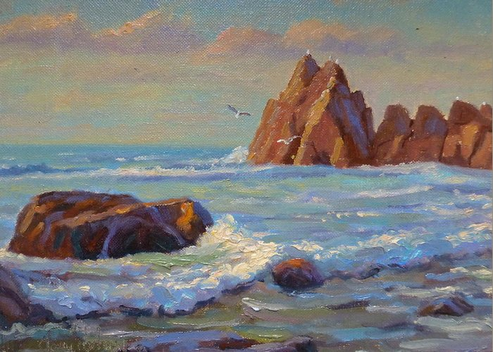 Sea Greeting Card featuring the painting Rocks West Coast by Terry Perham