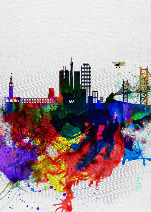 San Francisco Greeting Card featuring the painting San Francisco Watercolor Skyline 1 by Naxart Studio