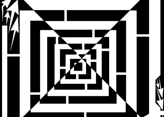 Off-set Greeting Card featuring the drawing Spin Art Off Set Targeting Maze by Yonatan Frimer Maze Artist