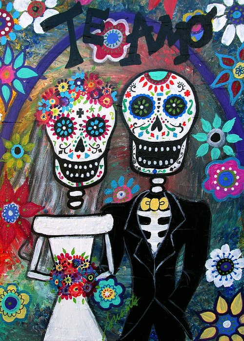 Te Amo Greeting Card featuring the painting Te Amo Wedding Dia De Los Muertos by Pristine Cartera Turkus