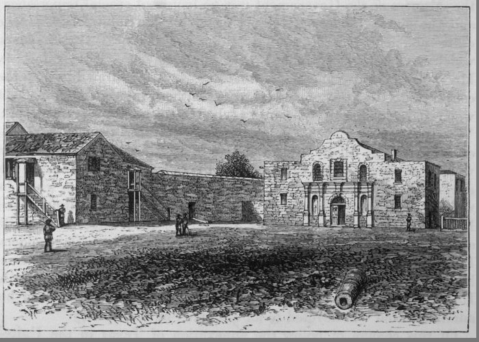 Usa Greeting Card featuring the drawing The Exterior Of The Alamo     Date by Mary Evans Picture Library