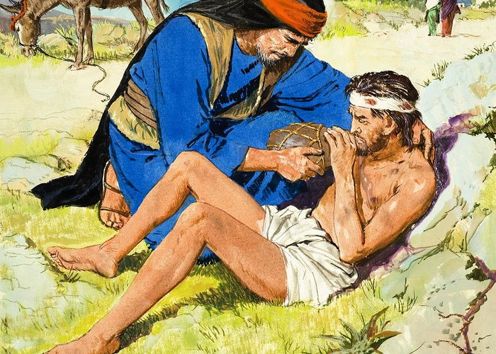 Parable; Children's Illustration; Bible Story; Male; Donkey; Ass; Wounded; Injured; Helping; Aiding; Roadside; Drinking; Kindness; Compassion; Kind Greeting Card featuring the painting The Good Samaritan by Clive Uptton
