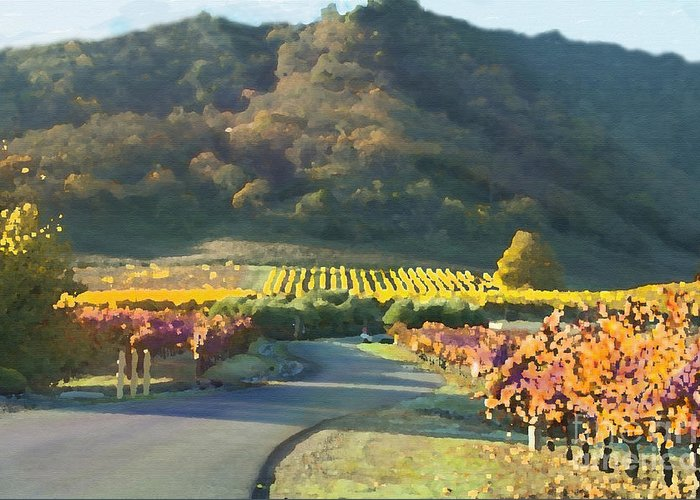 Corde Valle San Martin Ca Greeting Card featuring the painting The Hills Of Clos La Chance Winery by Artist and Photographer Laura Wrede
