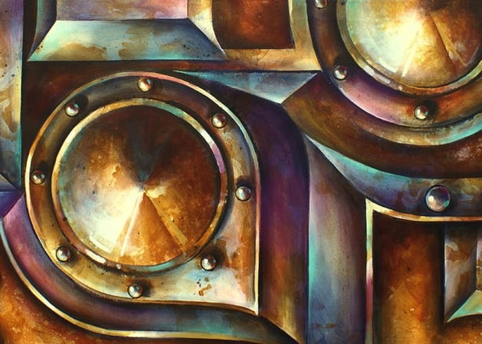 Abstract Design Greeting Card featuring the painting ' The Keep ' by Michael Lang
