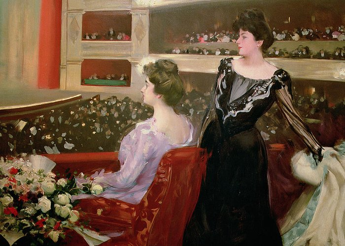 Theater; Audience; Entertainment; Seated; Flower; Bouquet; Female; Stalls; Performance Greeting Card featuring the painting The Lyceum by Ramon Casas i Carbo