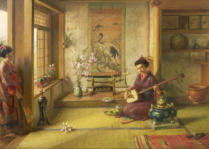Japanese; Interior; Kimono; Pipe; Fan; Porcelain; Sword; Blossom; Kettle; Mat; Musical Instrument Greeting Card featuring the painting The Stray Shuttlecock by Frank Dillon