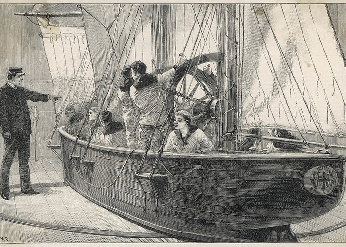Naval Greeting Card featuring the drawing Training Naval Cadets On A Swinging by Illustrated London News Ltd/Mar